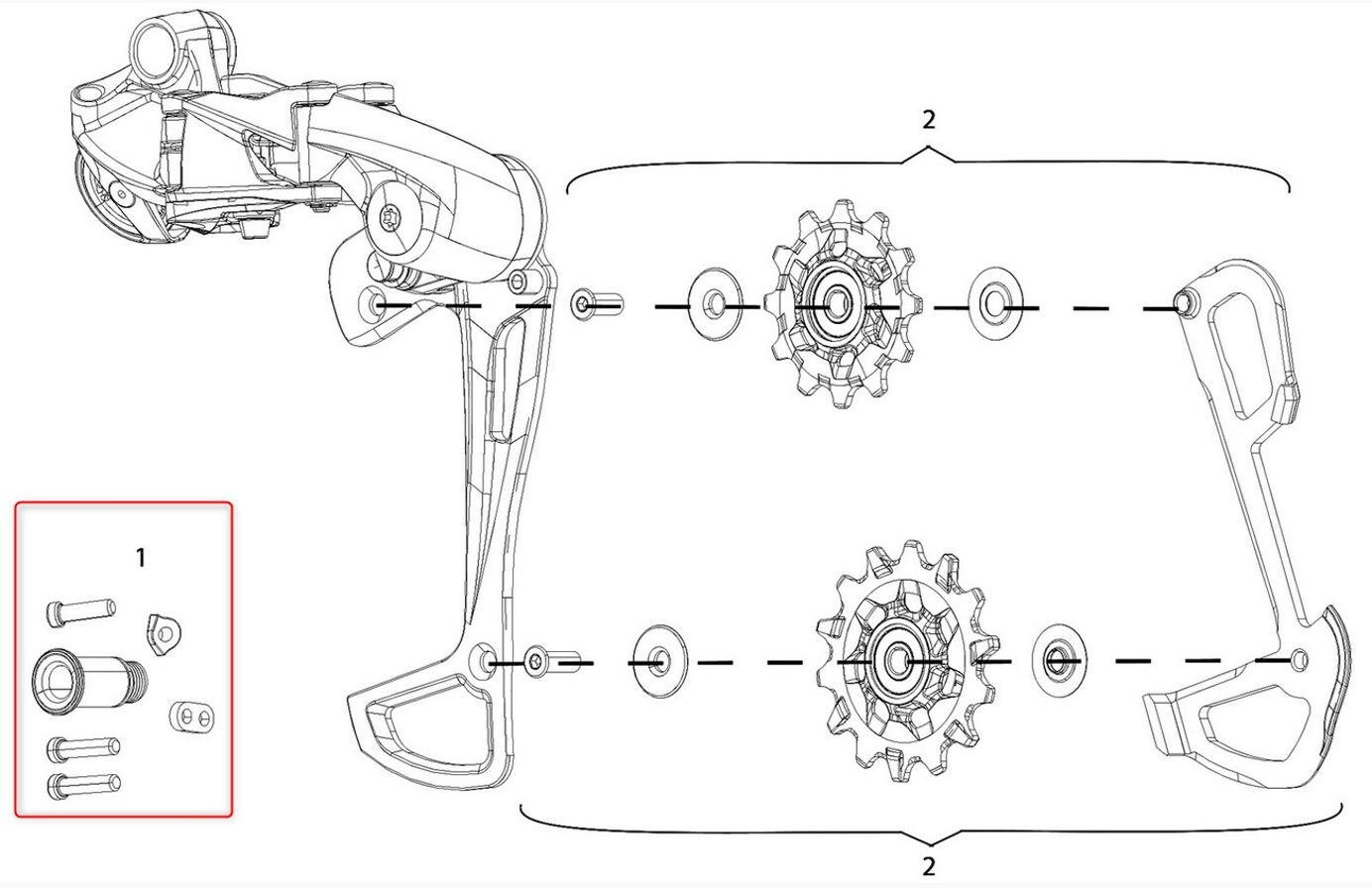 SRAM B-bolt and limit screw set HEX5 for GX Eagle rear derailleur